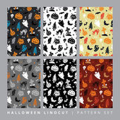 Halloween seamless colorful patterns