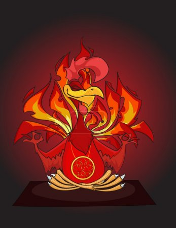 Hand drawn Yoga Fiery red Rooster sits in lotus pose
