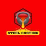 Metal casting logo or emblem on a red background. ...