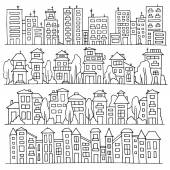 Scketch big city architecture with houses skyscrapers trees Panorama set of streets in a row Hand-drawn vector illustration isolated on white and organized in groups for easy editing