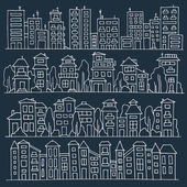 Scketch big city architecture with houses skyscrapers trees Panorama set of streets in a row Hand-drawn vector illustration isolated on dark and organized in groups for easy editing