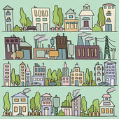 Scketch big city architecture with houses factory trees Panorama set of streets in a row Hand-drawn vector colored illustration organized in groups for easy editing