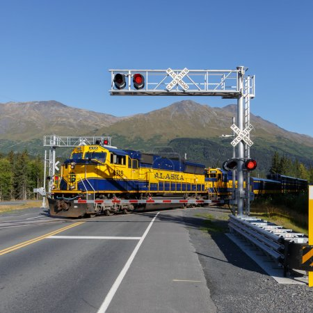 Blue and yellow car of the Alaska Railroad