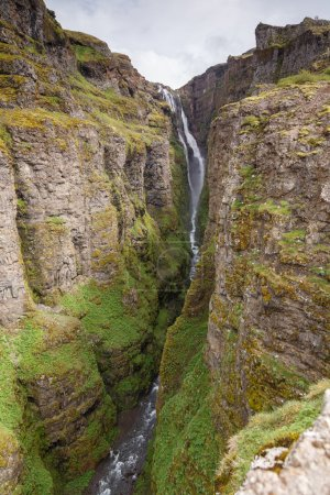 Scenic view of The Glymur Waterfall