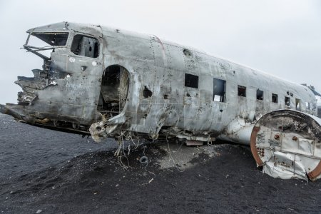 crashed DC-3 airplane at the beach