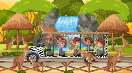 Illustration pour Safari au coucher du soleil avec des enfants regardant l'illustration de groupe kangourou - image libre de droit