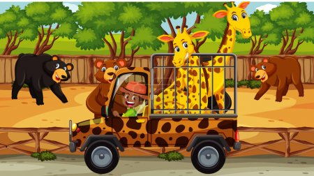 Illustration pour Scène safari avec de nombreux ours et girafe dans la cage illustration de voiture - image libre de droit