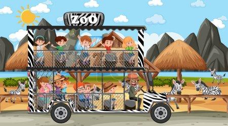 Illustration pour Safari à la scène de jour avec des enfants regardant l'illustration de groupe zèbre - image libre de droit