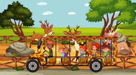 Illustration pour Scène safari avec des enfants regardant l'illustration de groupe de cerfs - image libre de droit