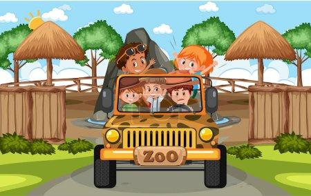 Illustration pour Enfants en voiture de tourisme explorer dans le zoo scène illustration - image libre de droit