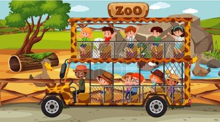 Illustration pour Safari à la scène de jour avec des enfants dans l'illustration de voiture de tourisme - image libre de droit