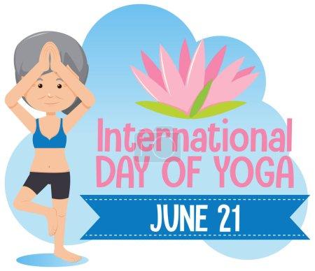 Illustration pour Journée internationale de bannière de yoga avec une vieille femme faisant illustration de pose de yoga - image libre de droit