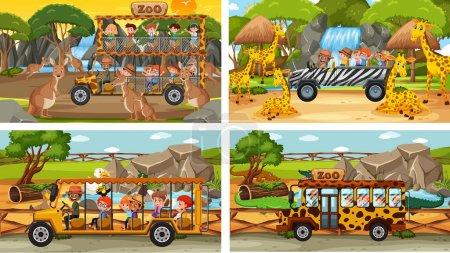 Illustration pour Ensemble de différents animaux dans des scènes de safari avec illustration pour enfants - image libre de droit