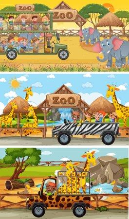 Illustration pour Ensemble de différentes scènes horizontales safari avec des animaux et des enfants illustration de personnage de dessin animé - image libre de droit