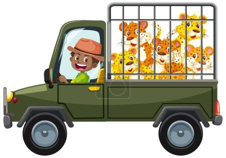Illustration pour Concept de zoo avec groupe léopard dans la cage isolée sur fond blanc illustration - image libre de droit